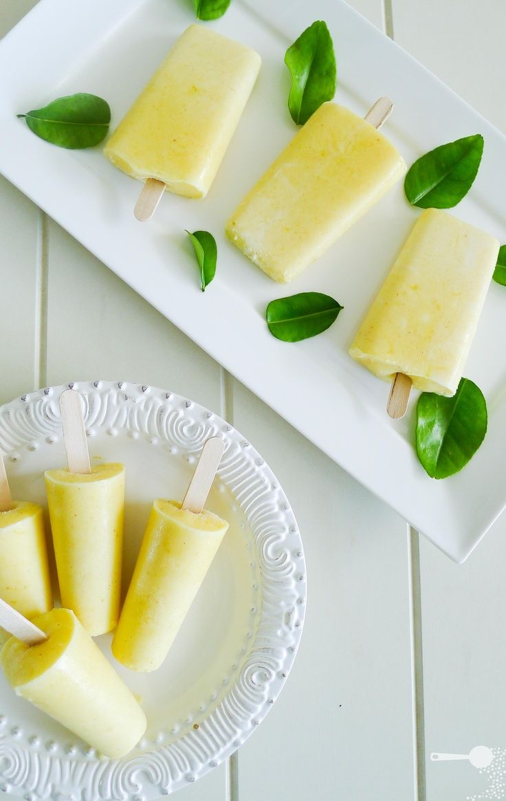 These look like a perfect spring dessert! Mango and yoghurt ice blocks