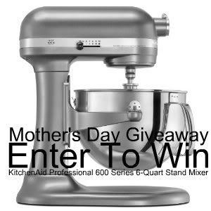 Enter for your chance to win an amazing Kitchen Aid Mixer April 13 - May 13 2012.