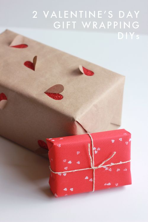 2 simple Valentine's Day gift wrapping ideas. So pretty. <3