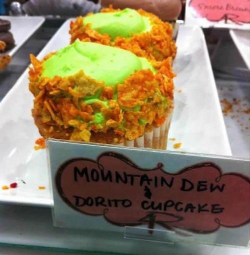 Mountain Dew & Dorito Cupcake.