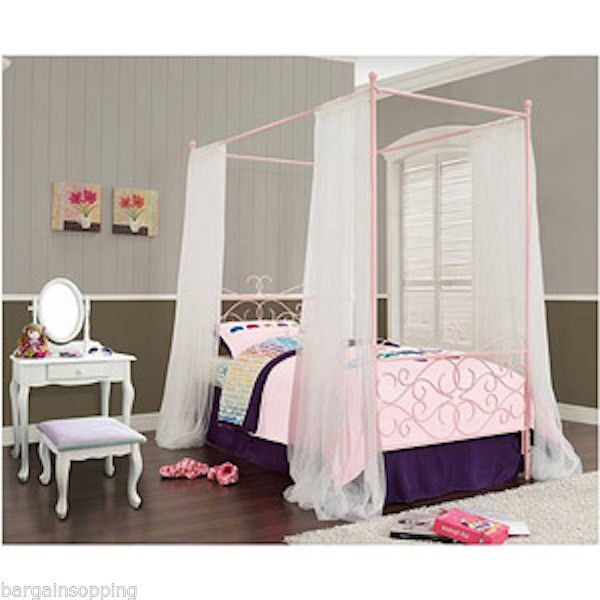 Pink Canopy Bed : Canopy Metal Wrought Iron Princess Bed Frame Twin Girls - Pink # ...
