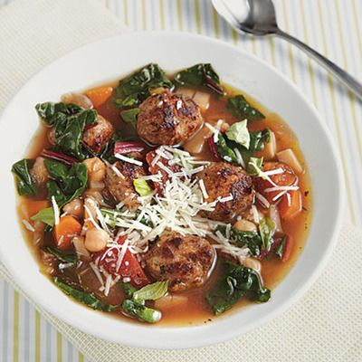 ... turkey meatball minestrone soup with swiss chard & parsnips #recipe