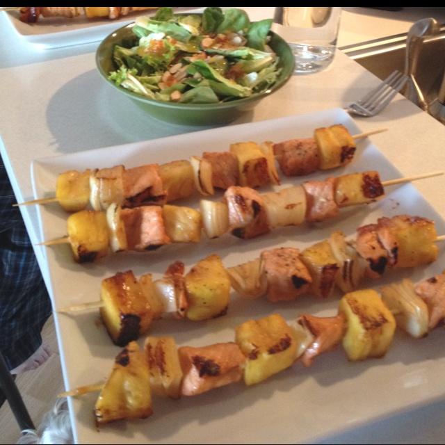 Teriyaki glazed Pineapple, onion, salmon kabobs