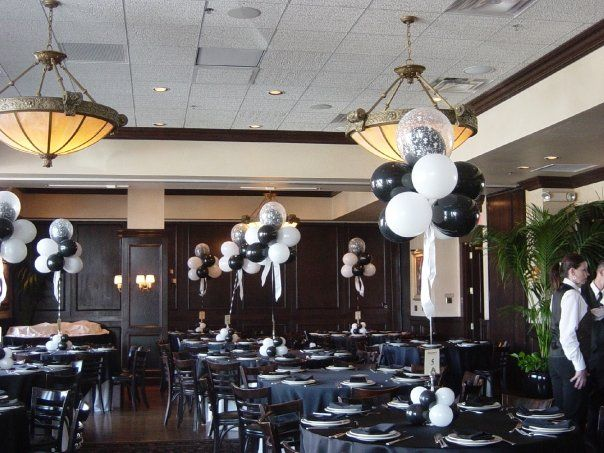 Black and white balloon combo bar mitzvah centerpieces pinterest
