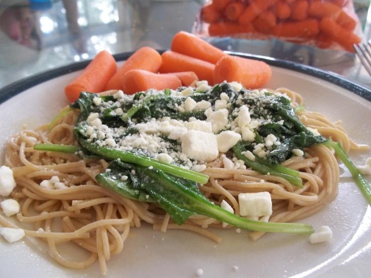 to spaghetti night! 1 c. whole wheat pasta, spinach sauteed ...
