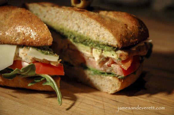 Grilled chicken pesto club sandwich. Pesto recipe.