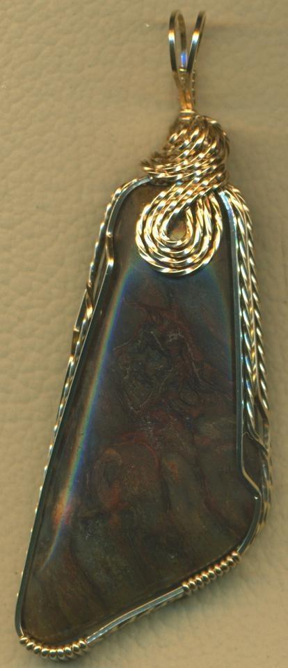 Illinois Fossil Psaronius Fern Wood  Gold Wire Wrap Pendant