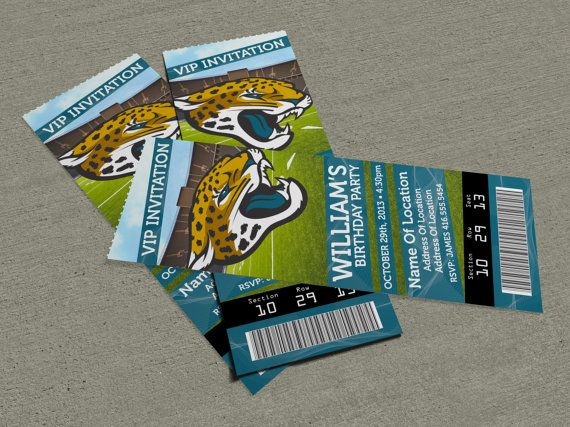 jacksonville jaguars birthday party event ticket invitation 2 5 x 7. Cars Review. Best American Auto & Cars Review