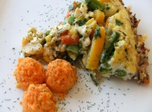 Herbed Vegetables In A Feta Quiche With A Wild Rice Crust