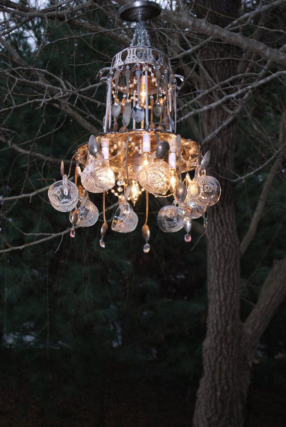 Repurposed/ Recycled Vintage Tea Cup and Silverware 2-Tier 5-Light ...