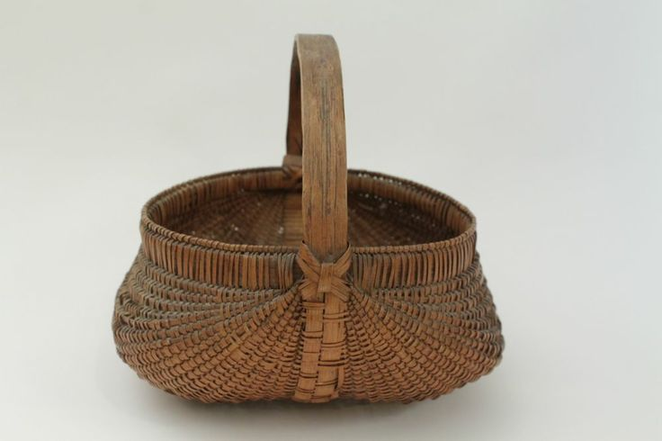 Antique Woven Egg Basket : In tall includes handle antique wood woven splint egg