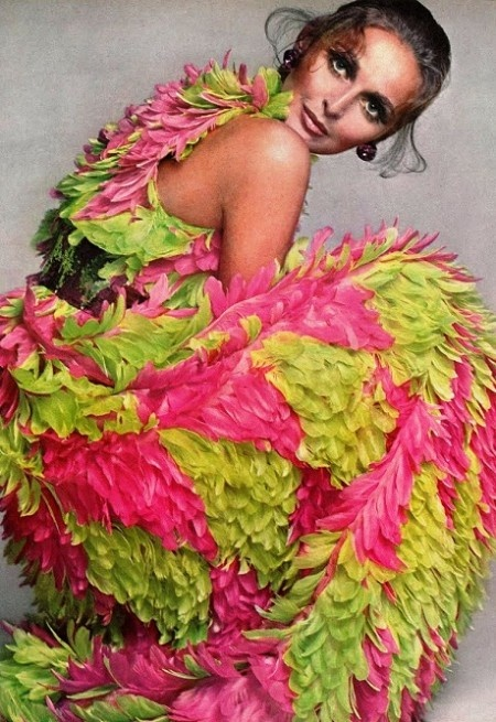 Samantha Jones in green & pink feathers by Avedon, Vogue 1967