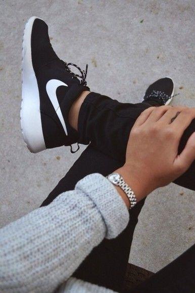 shoes nike black white girly roshe runs boys sneakers style