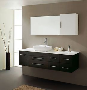 Espresso modern single sink floating bathroom vanity mirror medic