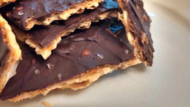 "Chocolate Toffee Matzoh Crunch | Dessertables. aka ""crack"""