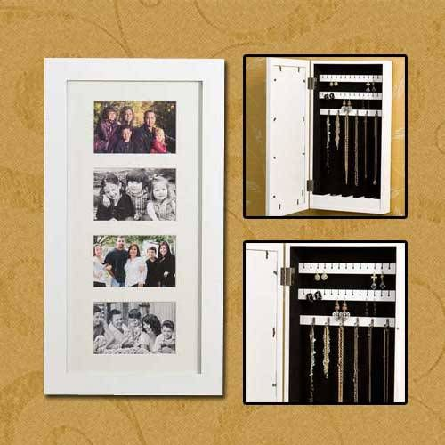 Picture frame hidden jewelry storage jewelry organizers for Picture frame organization wall