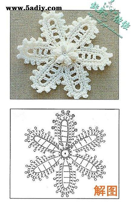 Crochet flower and pattern diagram.
