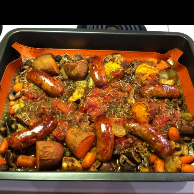 Roasted Potatoes, Chicken Sausage And Peppers Recipe ...