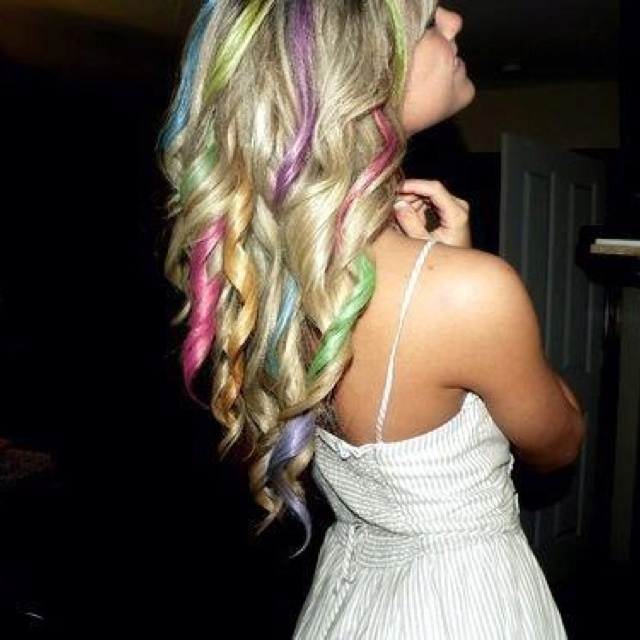 Blonde Rainbow Curls Hair Pinterest