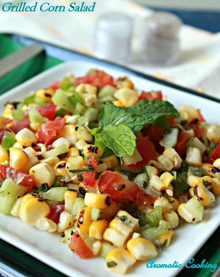 ... : Grilled Corn Salad #corn #tomato #grilled #mint #ginger #salad