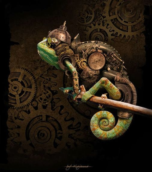 Steampunk Chameleon by Kajenna #Digitalart #Photomanipulation #Steampunk…