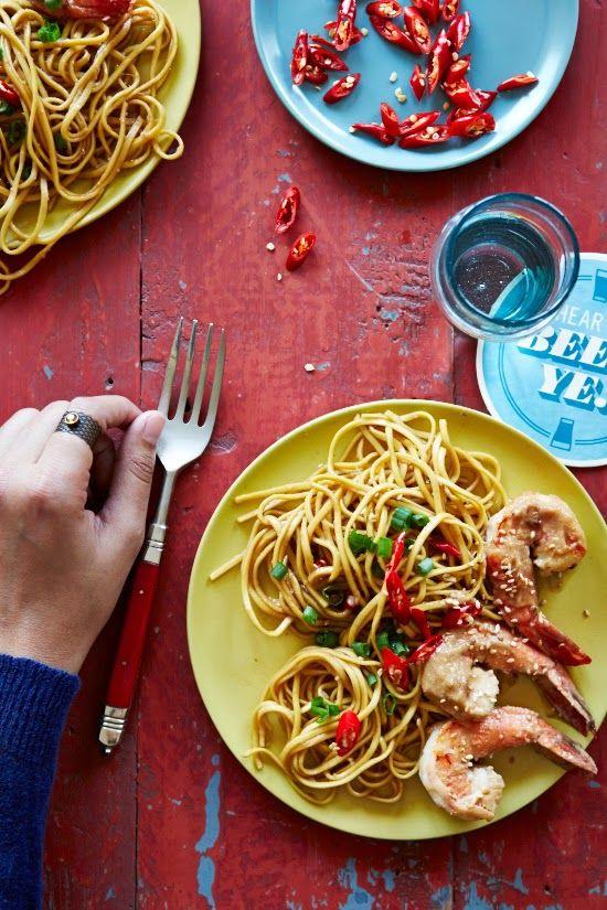 Spicy Peanut Prawns and Garlic Noodles ~ umm...skip the prawns because ...