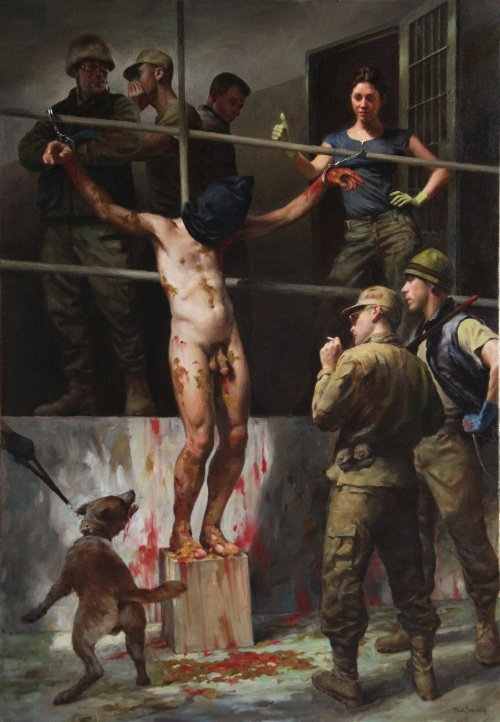 """""""Torture Abu Ghraib,"""" 46"""" x 32"""" oil on canvas, 2009, is reminiscent of the crucifixion of Christ in an effort to express Ginsburg's outrage at the hypocrisy of the religous leaders who supported the war and torture."""
