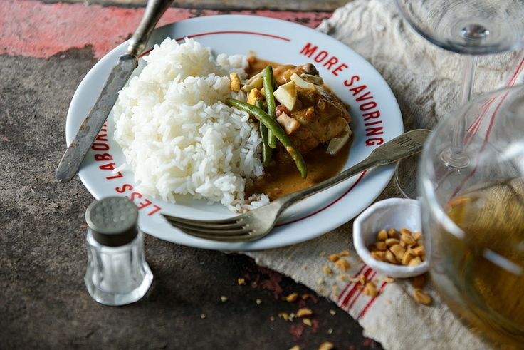 african chicken peanut stew with green beans and boiled eggs from ...
