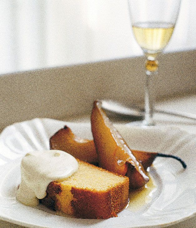Neil Perry: Olive oil and sauternes cake with roast pears