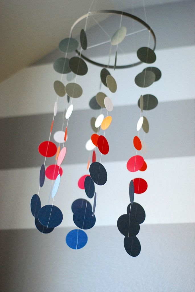 DIY mobile made with scrapbook paper and an embroidery hoop! #DIY #nursery #mobile