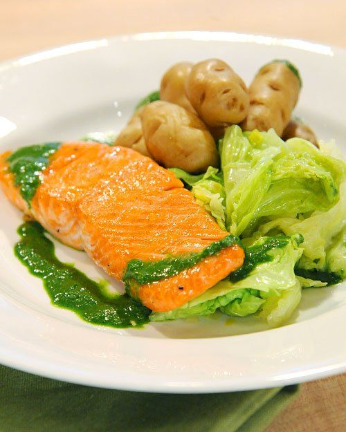 ... Salmon with Wilted Savoy Cabbage and Braised Fingerling Potatoes