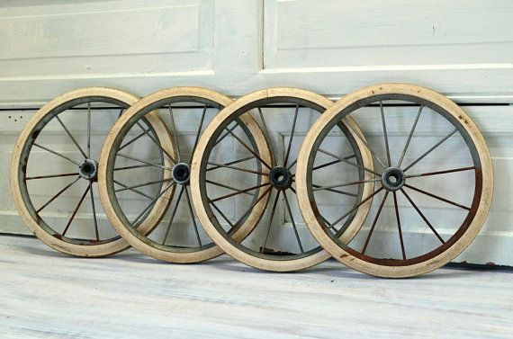 Baby Buggy Wheels Set Of Four White Rubber Rustic