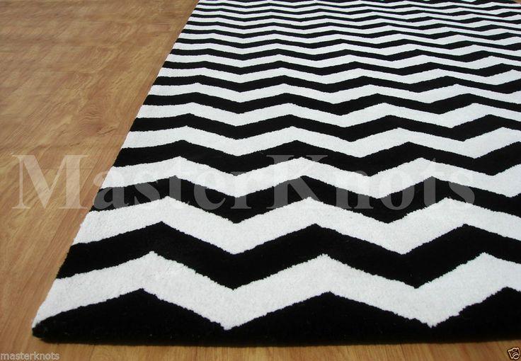 New Chevron Zig Zag Black White 10x14 14x10 Handmade Wool Area Rug ...