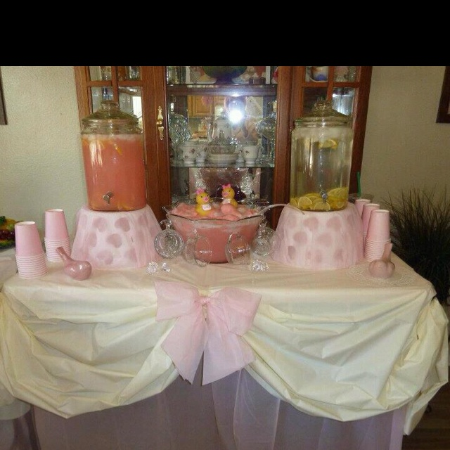 Baby Shower Drink Ideas ~ Baby shower drink table but in burlap