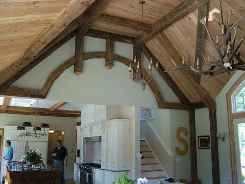 Reclaimed wood ceiling beams barn beam decor timber truss for Reclaimed timber beams