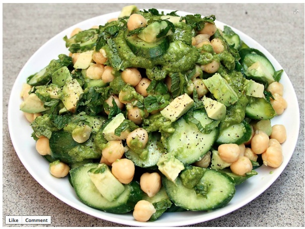 REFRESHING CHICKPEA AND CUCUMBER SALAD WITH AVOCADO & MINT DRESSING ...