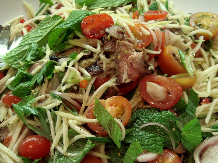 Green Mango Salad With Grilled Beef | yummy | Pinterest