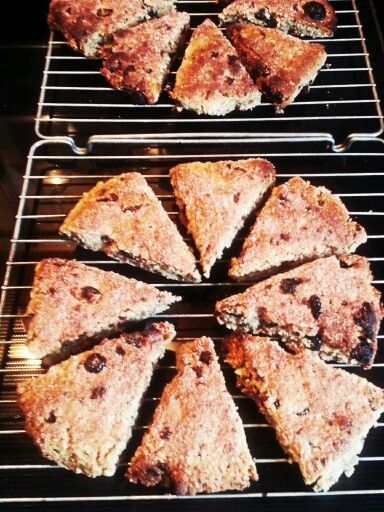 Scottish Oat Scones with Blueberries and Cherries.