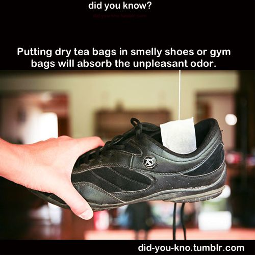 Putting dry tea bags in smelly shoes or gym bags will absorb with unpleasant odor.