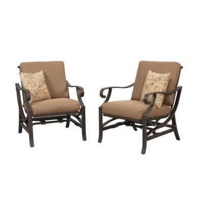 Hampton Bay Chairs Pine Valley Patio Deep Seating Chair with Linen Sp ...