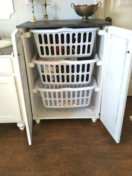 Laundry basket dresser with doors.