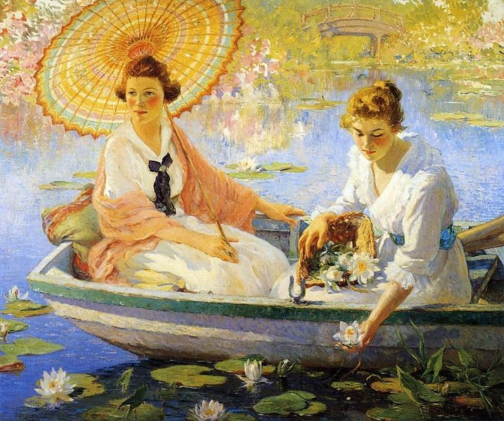 'Summer' (1918) by Colin Campbell Cooper. Oil on canvas. Height: 127.00 x 153.04 cm (60.25 x 50.00 in). Private location. // Bio notes on this artist: http://tinyurl.com/c7gbx7l // Found by @RandomMagicTour     (http://tinyurl.com/7c3hqej) - Sasha Soren - Book trailer: http://tinyurl.com/yl26xwa