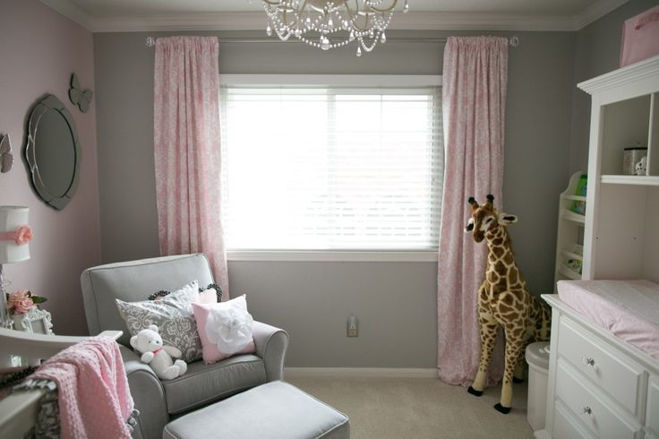 Gray + light pink = a beautiful, soft color scheme for a #babygirl #nursery