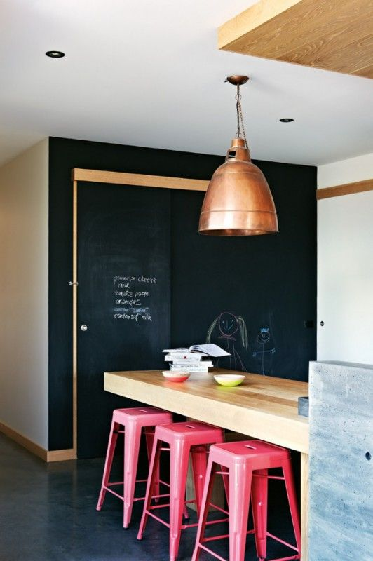 copper lamp shade, wood, blackboard chalk, pink chairs