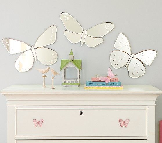 Butterfly mirrors pottery barn kids kid 39 s room pinterest for Mirrors for kids rooms
