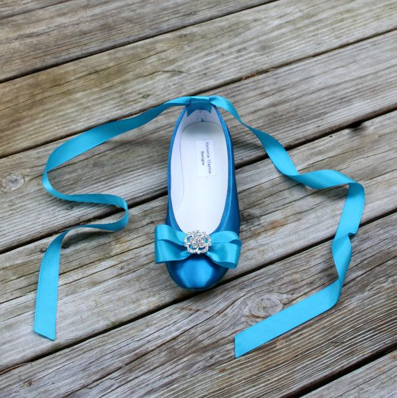 Blue Wedding Flats The Ballerina by TheCrystalSlipper on Etsy