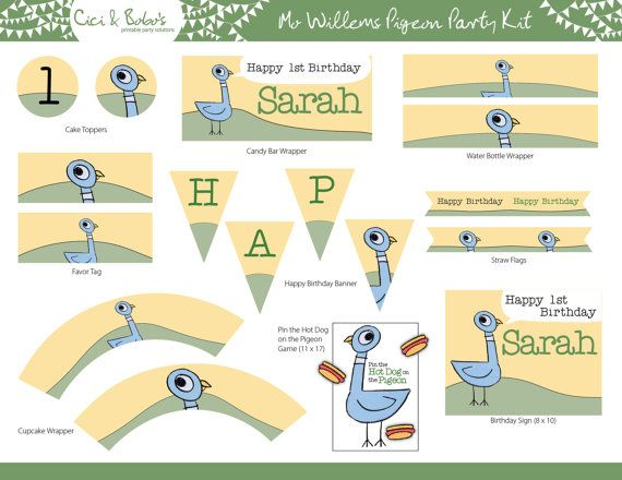 Mo Willems Pigeon Theme Birthday Party Printable by CiciandBobos, $28.00