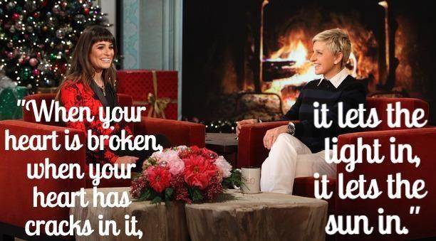 Ellen to Lea Michele on losing someone close