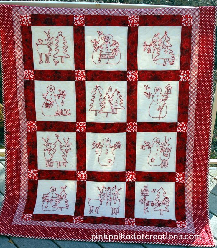 Redwork Quilt Patterns Christmas : redwork Christmas quilts Christmas Quilts Pinterest