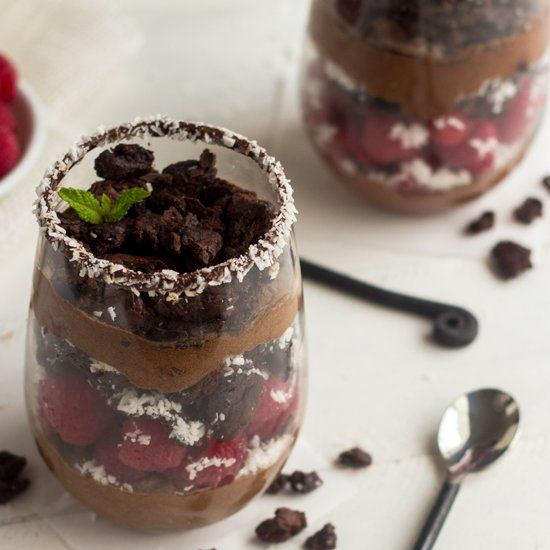 Skinny Brownie Coconut Raspberry Mousse Parfaits - You'll have a hard ...